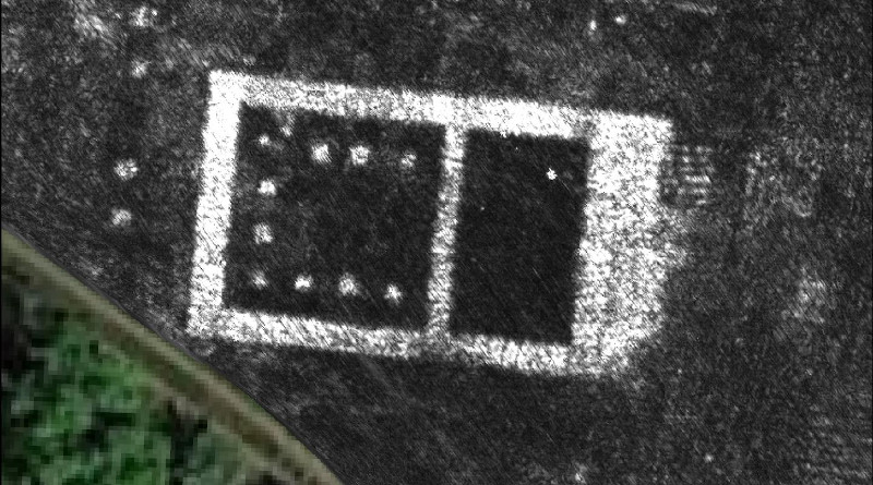 Ground Penetrating Radar map of the newly discovered temple in the Roman city of Falerii Novi, Italy. CREDIT: L. Verdonck