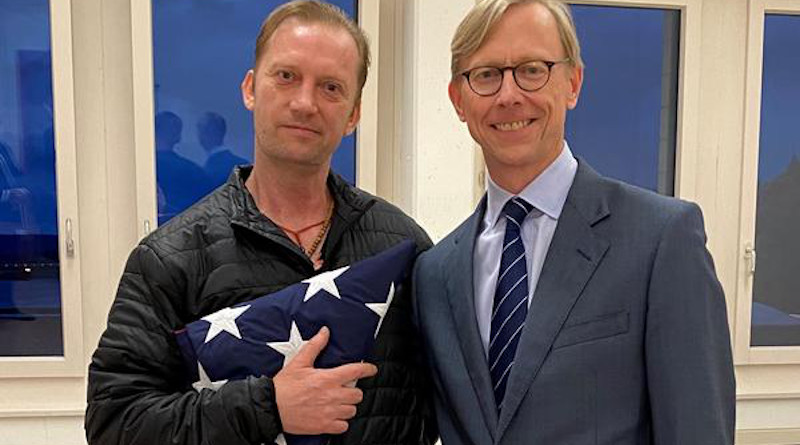 Michael White (left) meets Brian Hook, the U.S. special envoy for Iran, in Zurich, Switzerland, after White's release from detention in Iran. Photo Credit: U.S. State Department
