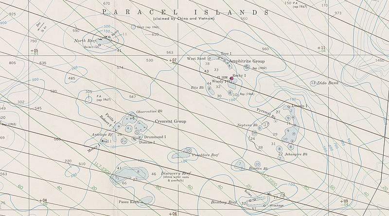 Nautical Chart of the northern South China Sea, with Paracel Islands and Macclesfield Bank. Credit: United States Naval Oceanographic Office
