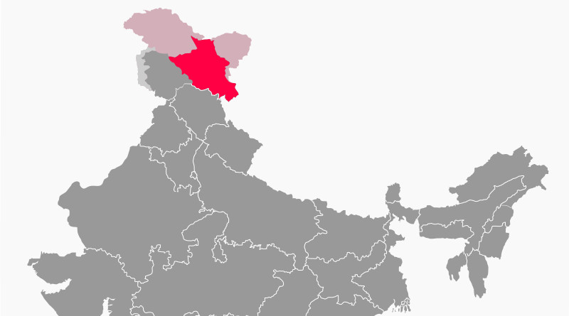 Ladakh in India (lighter shade indicated claimed but not controlled territories) and disputed with China. Credit: RaviC, Wikipedia Commons