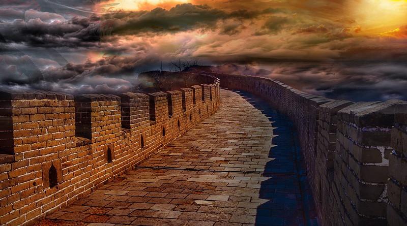 Wall China Architecture Sky Stone Dragon