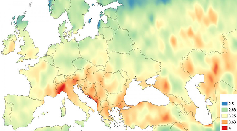 Spatial distribution of the ratio of power to storage days for solar energy sources when storage is increased from 2 to 5 days. CREDIT Jacek Kapic