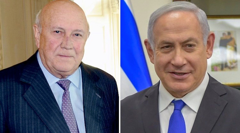 Images of former South African President F.W. de Klerk (left) and Prime Minister Netanyahu of Israel. Credit: Wikimedia Commons.