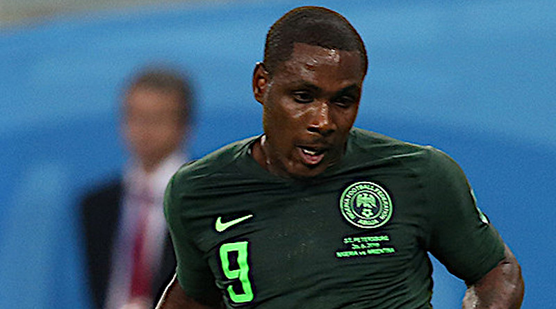 Footballer Odion Ighalo playing for Nigeria. Photo Credit: Кирилл Венедиктов, Wikimedia Commons.