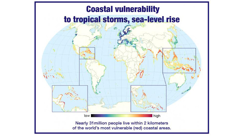 "A new study finds that about 31 million people worldwide live in coastal regions that are ""highly vulnerable"" to future tropical storms and sea-level rise driven by climate change. But in some of those regions, powerful defenses are located just offshore. CREDIT: Northern Illinois University"
