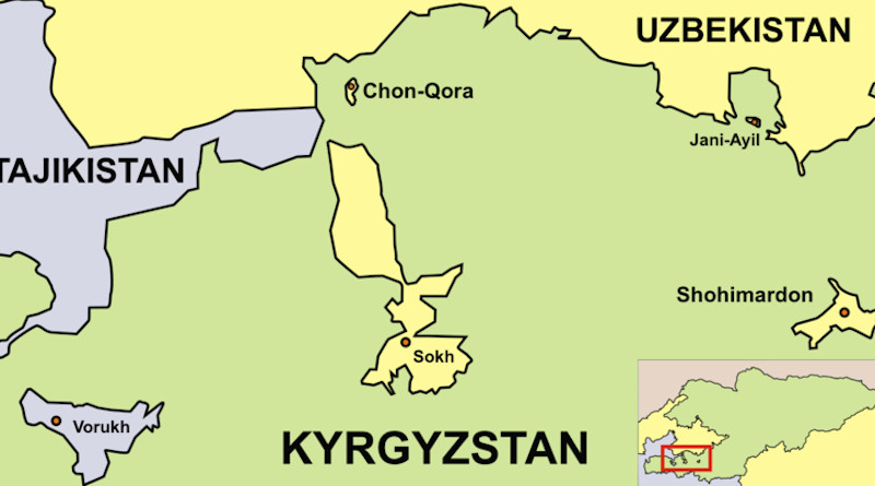 Location of Uzbekistan's Sokh District exclave surrounded by Kyrgyzstan. Credit: Wikipedia Commons