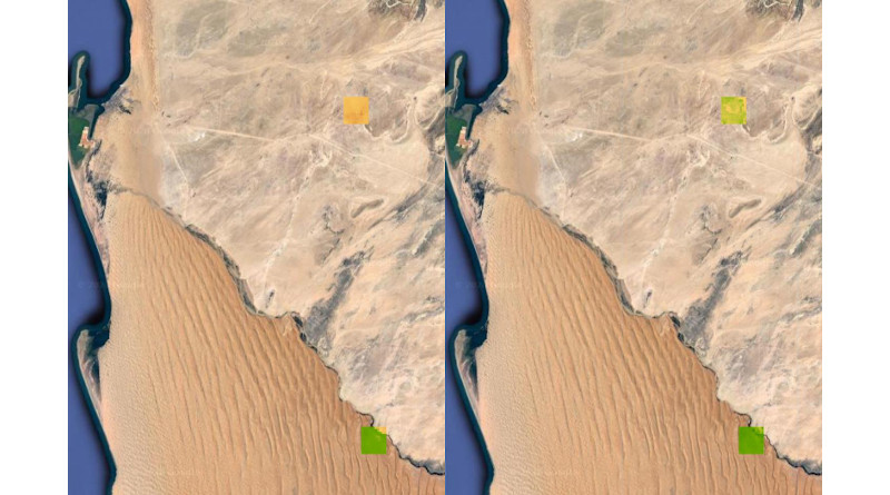 Two satellite images show vegetation change from fog in two areas of the Namib desert. The left image shows the areas during periods of lower fog; the right image shows the areas during periods of higher fog. Greener areas inside the squares indicate vegetation greening. CREDIT: Image courtesy of Lixin Wang, Indiana University.