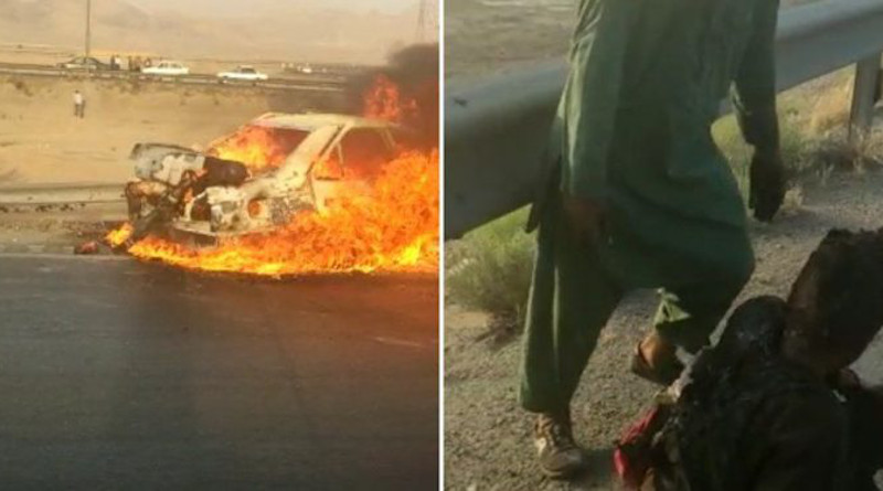 Snapshot from video of burning car and injured Afghan migrant. Credit: Iran News Wire