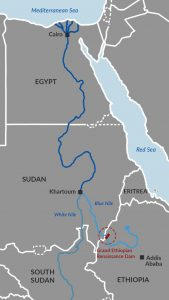 Location of GERD on the Nile River