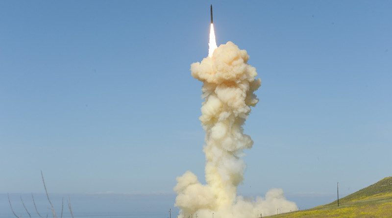 The lead ground-based interceptor is launched from Vandenberg Air Force Base, Calif., March 25, 2019, in the first salvo engagement test of a threat-representative intercontinental ballistic missile target. The two ground-based interceptors successfully intercepted a target launched from the Ronald Reagan Ballistic Missile Defense Test Site on Kwajalein Atoll in the Pacific Ocean. Photo Credit: Lisa Simunaci, DOD