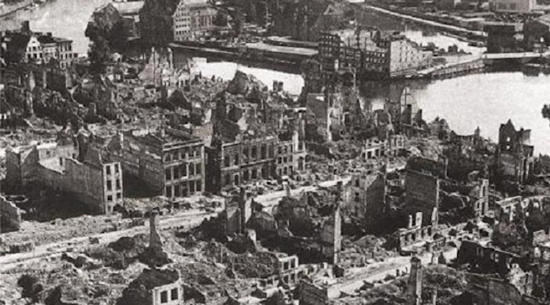 Gdańsk (Danzig) downtown destroyed by air strikes and artillery fire (1945). On September 1, 1939 the German armies invaded Poland. Two days later the British government declared war supposedly to aid Poland to hang on uncompromisingly to Gdansk, which few British, French or Americans had ever heard of a few months earlier. Photo from Public Domain.