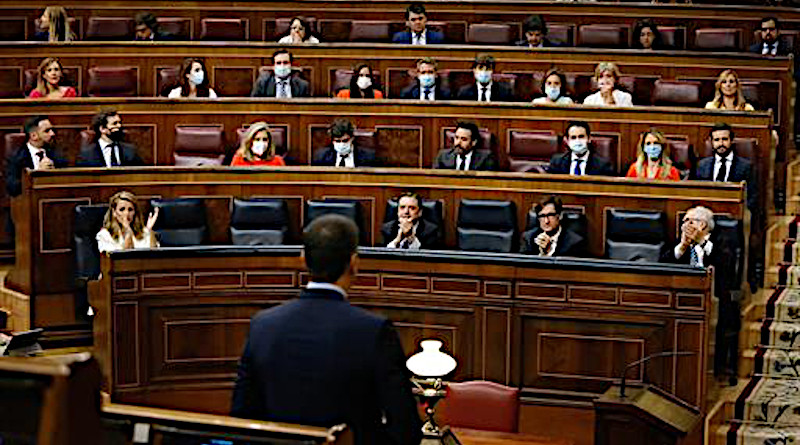 Spain's Prime Minister Pedro Sánchez speaks in the Lower House of Parliament. Photo Credit: Moncloa