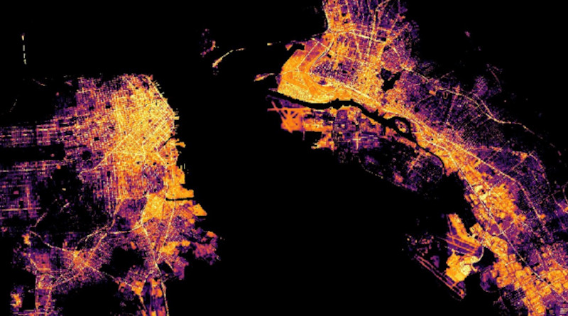 """NASA, ESA, and JAXA have assembled a wide array of their observations of Earth from space, including """"nightlights"""" data from the NASA-NOAA Suomi NPP satellite, to track global and local changes brought on by the world's response to the COVID-19 pandemic. This image shows San Francisco Bay. Credits: NASA"""