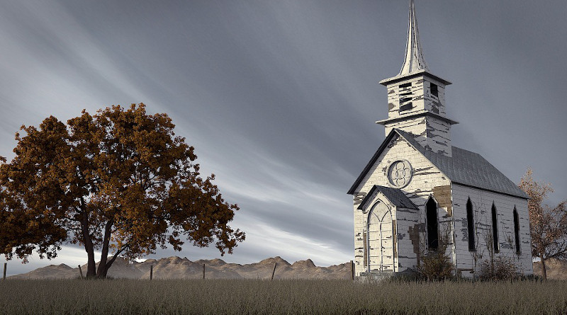 Country Church Tree Sky Landscape Architecture Nature Old
