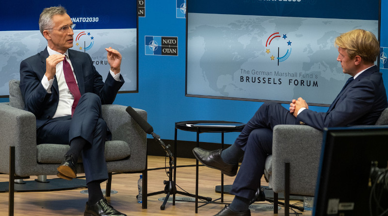 NATO Secretary General Jens Stoltenberg speaks with the Brussels Bureau Chief Martin Preiss of German broadcaster ARD at the Brussels Forum. Photo Credit: NATO