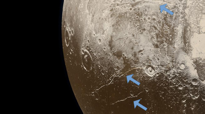 Extensional faults (arrows) on the surface of Pluto indicate expansion of the dwarf planet's icy crust, attributed to freezing of a subsurface ocean. CREDIT: NASA/Johns Hopkins University Applied Physics Laboratory/Southwest Research Institute/Alex Parker
