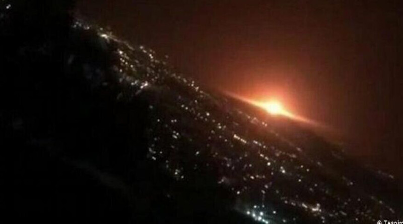 According to Iran's Defense Ministry this explosion at the Parchin complex near Tehran was caused by an exploding gas-storage tanker. Photo Credit: Tasnim News Agency