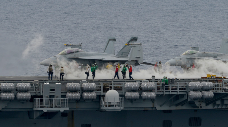 Sailors assigned to the aircraft carrier USS Nimitz conduct flight operations as part of the Nimitz Carrier Strike Force during drills in the South China Sea, July 6, 2020. Photo Credit: U.S. Navy photo by Mass Communication Specialist 1st Class Timothy M. Black/Released