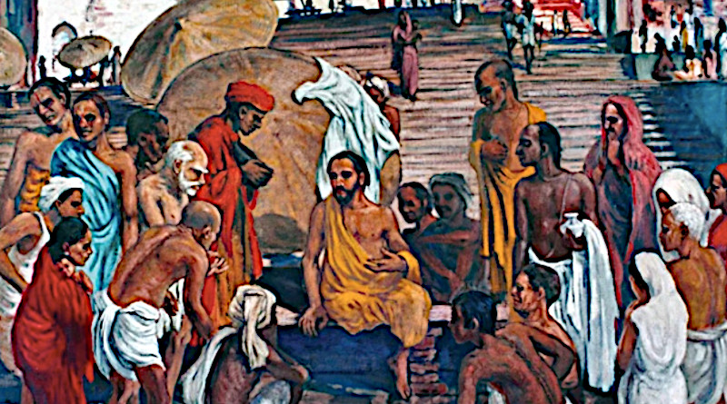 Indian artist Frank Wesley's work 'Jesus in Varanasi' presents Christ as an Indian (sitting center in yellow robe) conversing with people on the banks of the Ganges, the Hindu holy river. (Photo: indiaartsmovement.wordpress.com)