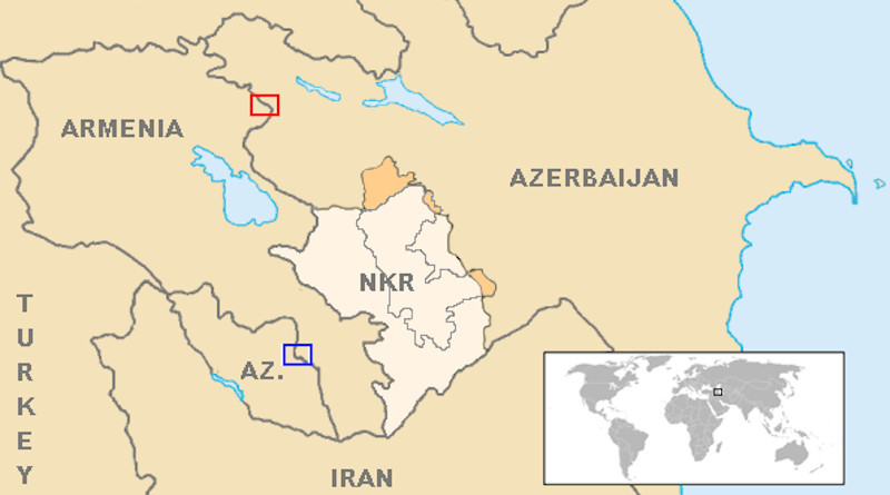 Location of the July 2020 skirmishes marked with red square. Location of the skirmishes claimed to occur by Azerbaijan, but not confirmed by Armenia marked with blue square. Credit: Wikipedia Commons