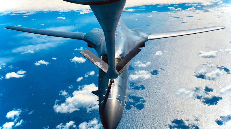 A B-1B Lancer receives fuel from a KC-135 Stratotanker during a training mission for Bomber Task Force Europe over England, May 11, 2020. Bomber Task Force missions are intended to demonstrate U.S. commitment to the defense of the NATO alliance. Photo Credit: Air Force Staff Sgt. Kelly O'Connor