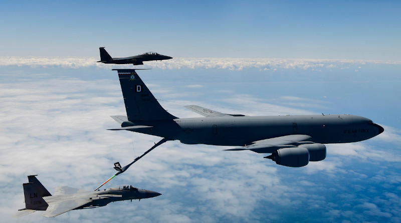 A KC-135 Stratotanker assigned to the 100th Air Refueling Wing at Royal Air Force Mildenhall, England,, conducts aerial operations with F-15 aircraft assigned to the 48th Fighter Wing at RAF Lakenheath, England, in support of exercise Point Blank 20-02 over the North Sea, May 12, 2020. Photo Credit: Air Force Master Sgt. Matthew Plew