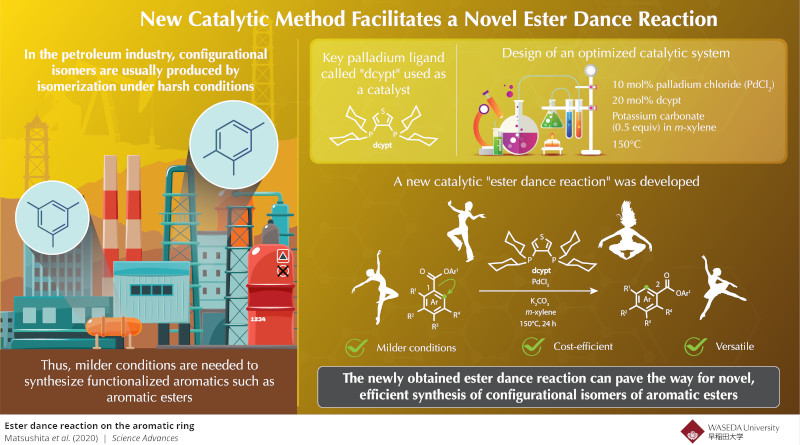 """A new, practical catalytic reaction called the """"Ester Dance Reaction,"""" to achieve a high yield of aromatic esters from low-cost starting materials. Credit: JUNICHIRO YAMAGUCHI (WASEDA UNIVERSITY)"""