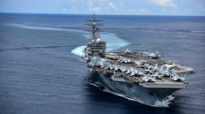 The US Navy's aircraft carrier USS Ronald Reagan transits the San Bernardino Strait, crossing from the Philippine Sea into the South China Sea. U.S. Navy photo by Mass Communication Specialist 3rd Class Jason Tarleton/Released