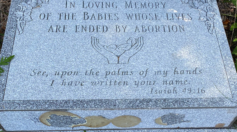 Vandalized monument at Our Lady of the Assumption Church in Bloomingburg, New York. Credit: Fr. Nicholas Blackwell
