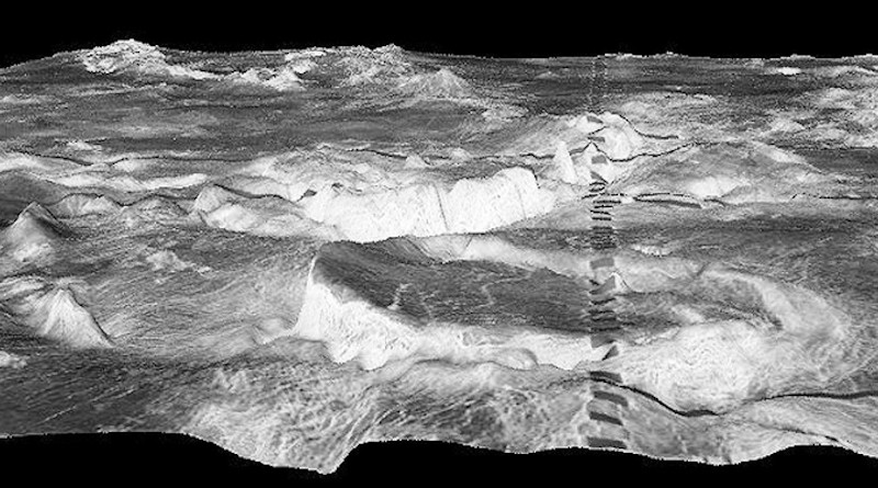 The circular mountain in the foreground is a 500 kilometre corona in the Galindo region of Venus. The dark rectangles are an artifact. CREDIT: Picture: NASA/JPL/USGS