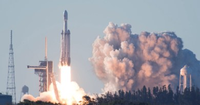 SpaceX's Falcon Heavy Arabsat 6A lifts off from Space Launch Complex 39A at Kennedy Space Center, Fla., April 12, 2019. This flight marks the second launch of the Falcon Heavy rocket; the most powerful space vehicle flying today. Photo Credit: Air Force 2nd Lieutenant Alex Preisser
