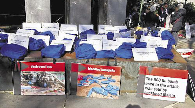 Some of the 40 blue backpacks worn in a protest in New York city against the war in Yemen. Each backpack was accompanied by a sign with the name and age of a child killed on a school bus in Dahyan, northern Yemen, on August 9, 2018, in a Saudi/UAE airstrike. Credit: CODEPINK