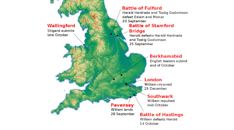 Location of major events during the Norman conquest of England in 1066. Credit: Amitchell125, Wikipedia Commons