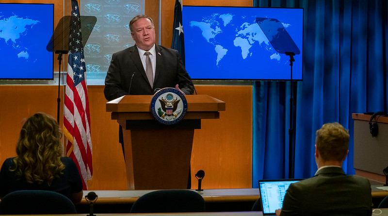 U.S. Secretary of State Michael R. Pompeo delivers remarks to the media in the Press Briefing Room, at the Department of State in Washington, D.C., on July 8, 2020. [State Department Photo by Ronny Przysucha / Public Domain]