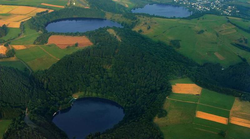 Water-filled maars in Germany's Eifel region. CREDIT: Martin Schildgen/Wikimedia Commons