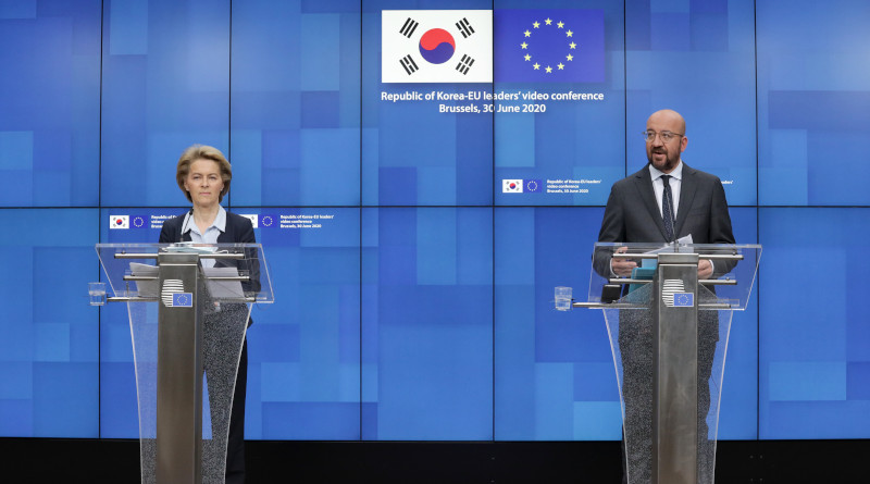 Ursula von der Leyen, President of the European Commission and Charles Michel, President of the European Council hold press conference on Republic of Korea-EU video conference. Photo Credit: European Union
