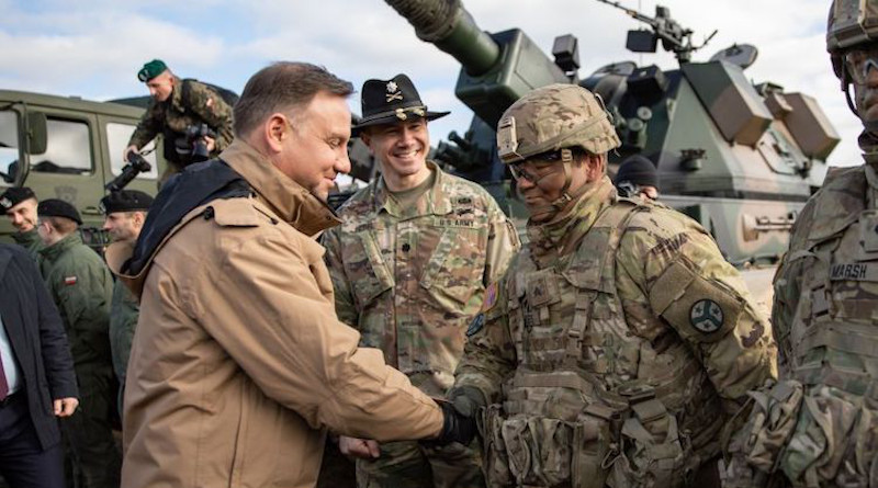 Polish president Andrzej Duda meets with soldiers assigned to the Tennessee Army National Guard's 2nd Squadron, 278th Armored Cavalry Regiment's Task Force Raider, during a visit to Bemowo Piskie Training Area, Poland, March 6, 2019. Credit: SARAH KIRBY/U.S. ARMY