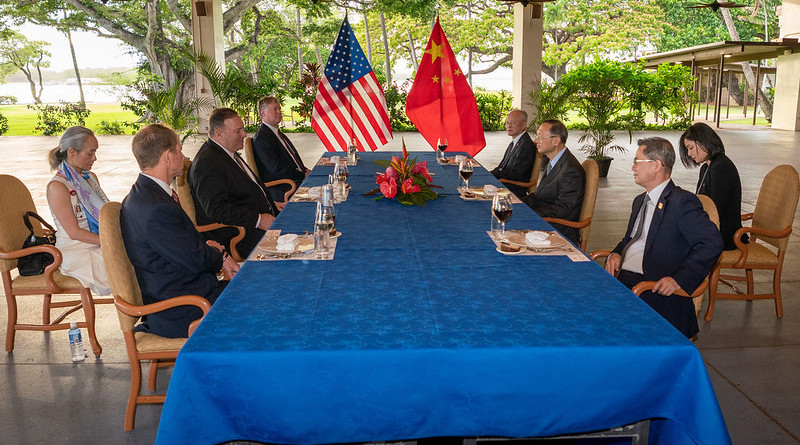 U.S. Secretary of State Michael R. Pompeo hosts a working dinner with the Chinese delegation in Honolulu, HI, on June 16, 2020. [State Department Photo by Ron Przysucha / Public Domain]