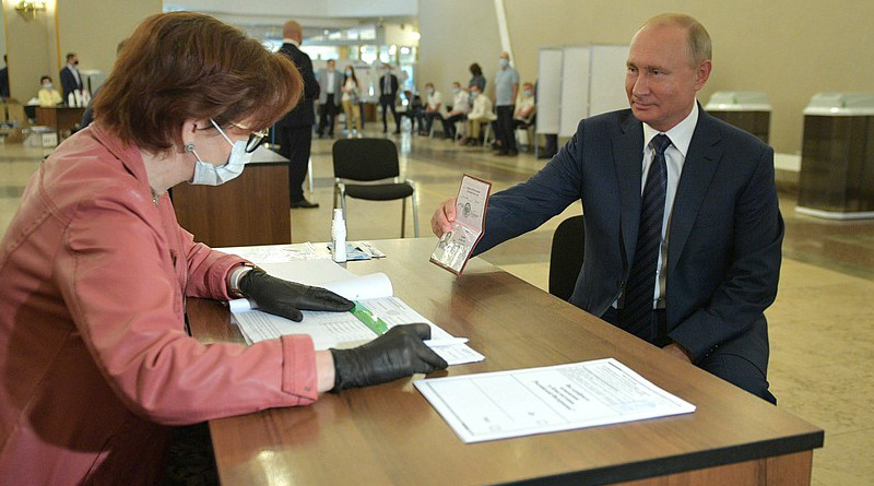 Russia's President Vladimir Putin during the nationwide vote on amendments to the Constitution at the polling station No. 2151 located on the premises of the Russian Academy of Sciences. Photo Credit: Kremlin.ru
