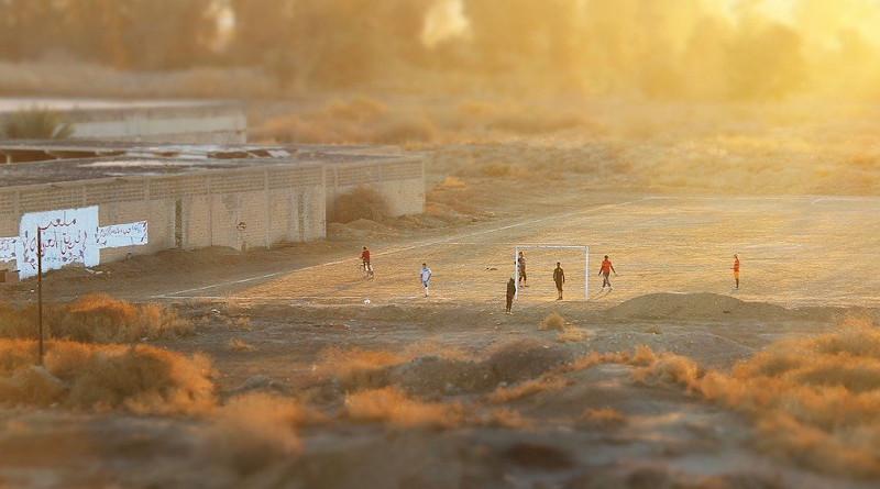 Iraq Football Field Sunset Orange Soccer Sport Nature