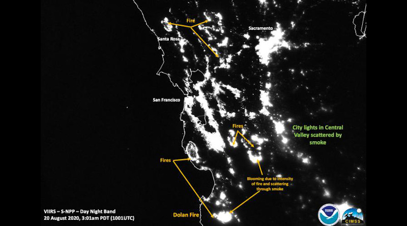 NOAA-NASA's Suomi NPP was able to image this nighttime image of the California fires on Aug. 20, 2020. This image does not have the Visible Fire Product active showing the outline of the fires. City lights are scattered in this image by smoke. Fires are noted. Credits: NOAA/NASA/William Straka U of W-Madison/CIMSS/SSEC