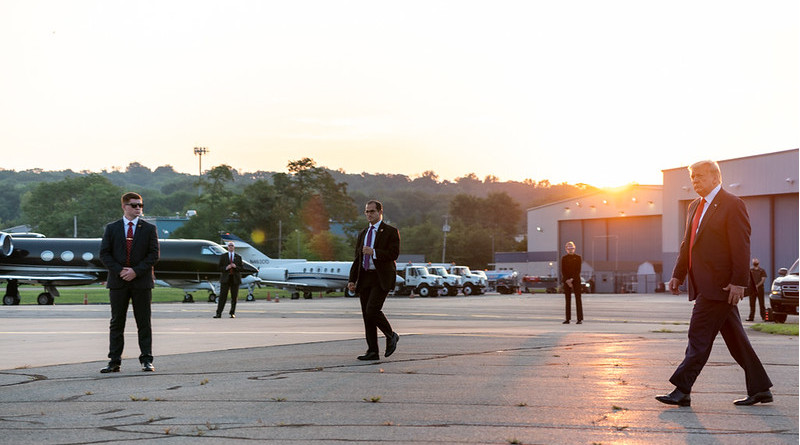 President Donald J. Trump speaks to the press prior to boarding Air Force One at Morristown Municipal Airport Sunday, Aug. 9, 2020, en route to Joint Base Andrews, Md. (Official White House Photo by Shealah Craighead)