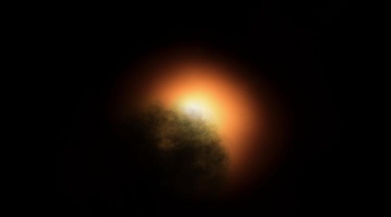 New observations by the NASA/ESA Hubble Space Telescope suggest that the unexpected dimming of the supergiant star Betelgeuse was most likely caused by an immense amount of hot material that was ejected into space, forming a dust cloud that blocked starlight coming from the star's surface. This artist's impression was generated using an image of Betelgeuse from late 2019 taken with the SPHERE instrument on the European Southern Observatory's Very Large Telescope. CREDIT: ESO, ESA/Hubble, M. Kornmesser