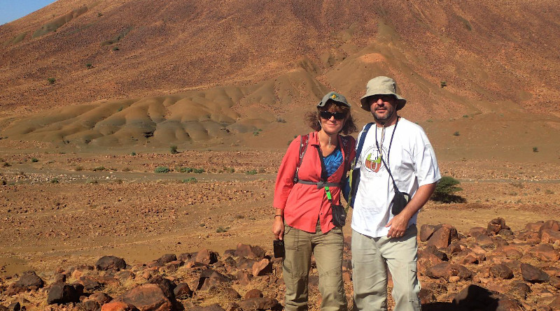 USask paleobiologists Gabriela Mángano and Luis Buatois (left to right) in the field in Morocco examining 478 million year-old marine rocks CREDIT: Xiaoya Ma