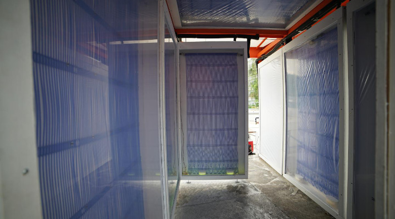 """The """"Cold Tube,"""" is an an outdoor pavilion made of radiant cooling panels, which provide cooling to passersby without cooling the air. CREDIT: Photos courtesy of the researchers"""