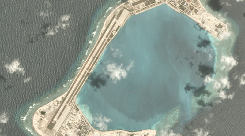 A satellite image shows Subi Reef, one of China's four main bases and artificial islands in the South China Sea, July 3, 2020. Credit: Planet Labs Inc. via Benar News