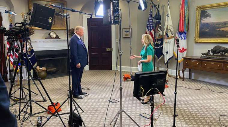 EWTN News Nightly's Tracy Sabol conducts a White House interview with President Donald Trump Aug. 4. Courtesy photo.