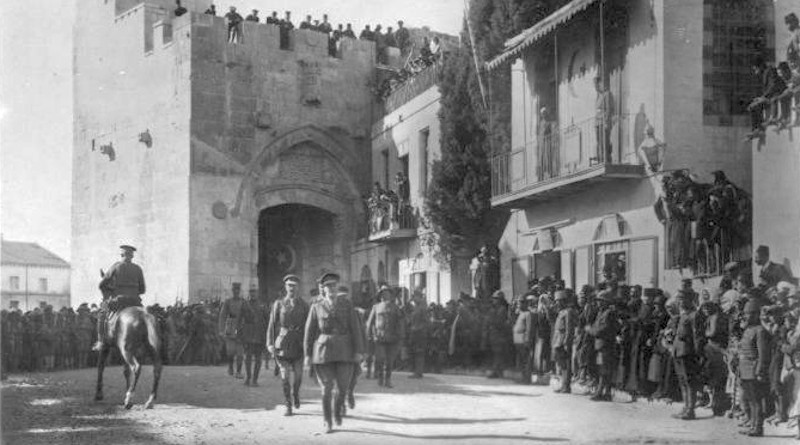 The victorious Edmund Allenby, commander of the Egyptian Expeditionary Force, dismounted, enters Jerusalem on foot out of respect for the Holy City, 11 December 1917. Photo Credit: Copyright, U. & U. (expired), Wikipedia Commons