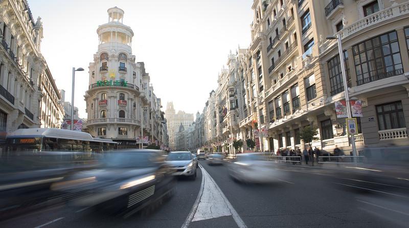 Spain Gran Vía Traffic Urban Madrid Capital Cars City