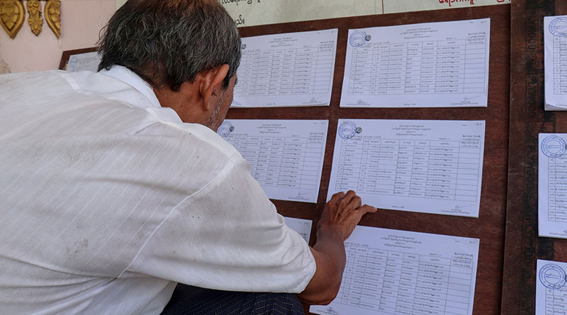 Man reads electoral lists in Myanmar. Photo Credit: DMG